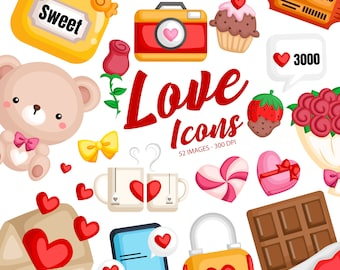 Valentine Item Clipart -  Love and Object Clip Art - Sweets and Cookies - Free SVG on Request