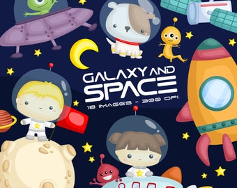 Galaxy and Space Clipart - Space and Exploration Clip Art - Alien and UFO - Free SVG on Request