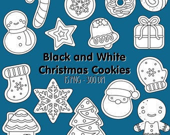 Christmas Cookies Clipart - Black and White Clip Art - Digital Stamp - Free SVG on Request