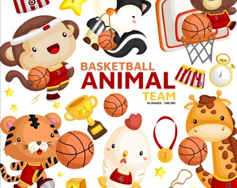 Animal Playing Basketball Clipart - Cute Animal Clip Art - Basketball Team -  Free SVG on Request