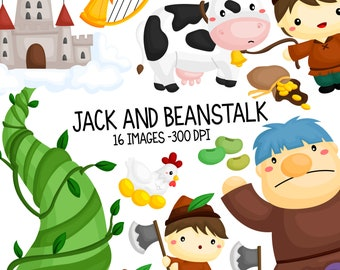Jack and Beanstalk Clipart - Kids Stories Clip Art - Cute Stories Clipart - Free SVG on Request