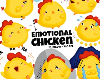 Emotional Chicken Clipart - Cute Animal Clip Art - Emotion Clipart - Free SVG on Request