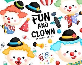 Cute Clown Clipart - Circus and Carnival Clip Art - Circus Clown - Free SVG on Request