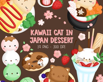 Japanese Food Clipart - Kawaii Cat in Japan Dessert Clip Art - Sweets and Ice Cream - Free SVG on Request