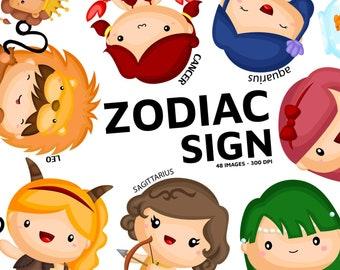 Zodiac Sign Clipart - Cute Zodiac Clip Art - Personality Zodiac - Free SVG on Request