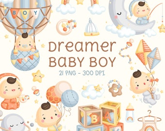 Baby Boy Clipart - Cute Dreamer Baby Boy Clip Art - Air Balloon Baby Boy Clipart - Baby Toys - Free SVG on Request