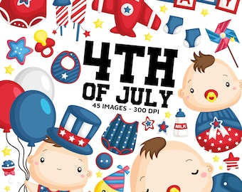 4th of July Baby Clipart - Cute Baby Clip Art - Holiday Celebration - Free SVG on Request