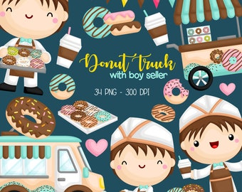 Donut Truck Clipart - Cute Kids Clip Art - Sweets and Snack - Free SVG on Request