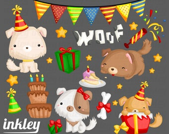 Birthday Clipart, Birthday Clip Art, Birthday Png, Dog Clipart, Cute Animal Clipart, Cake Clipart, Puppies Clipart, Party Clipart