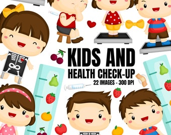 Kids and Health Checkup Clipart - Doctor and Medicine Clip Art - Free SVG on Request