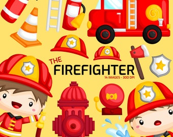 Cute Fireman Clipart - Job and Occupation Clip Art - Profession -  Free SVG on Request