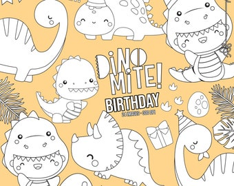 Jurassic Animal Clipart - Cute Dinosaur Clipart - Black and White Clipart - Free SVG on Request