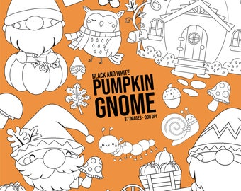 Pumpkin Gnome Clipart - Vegetable Clipart - Black and White - Free SVG on Request