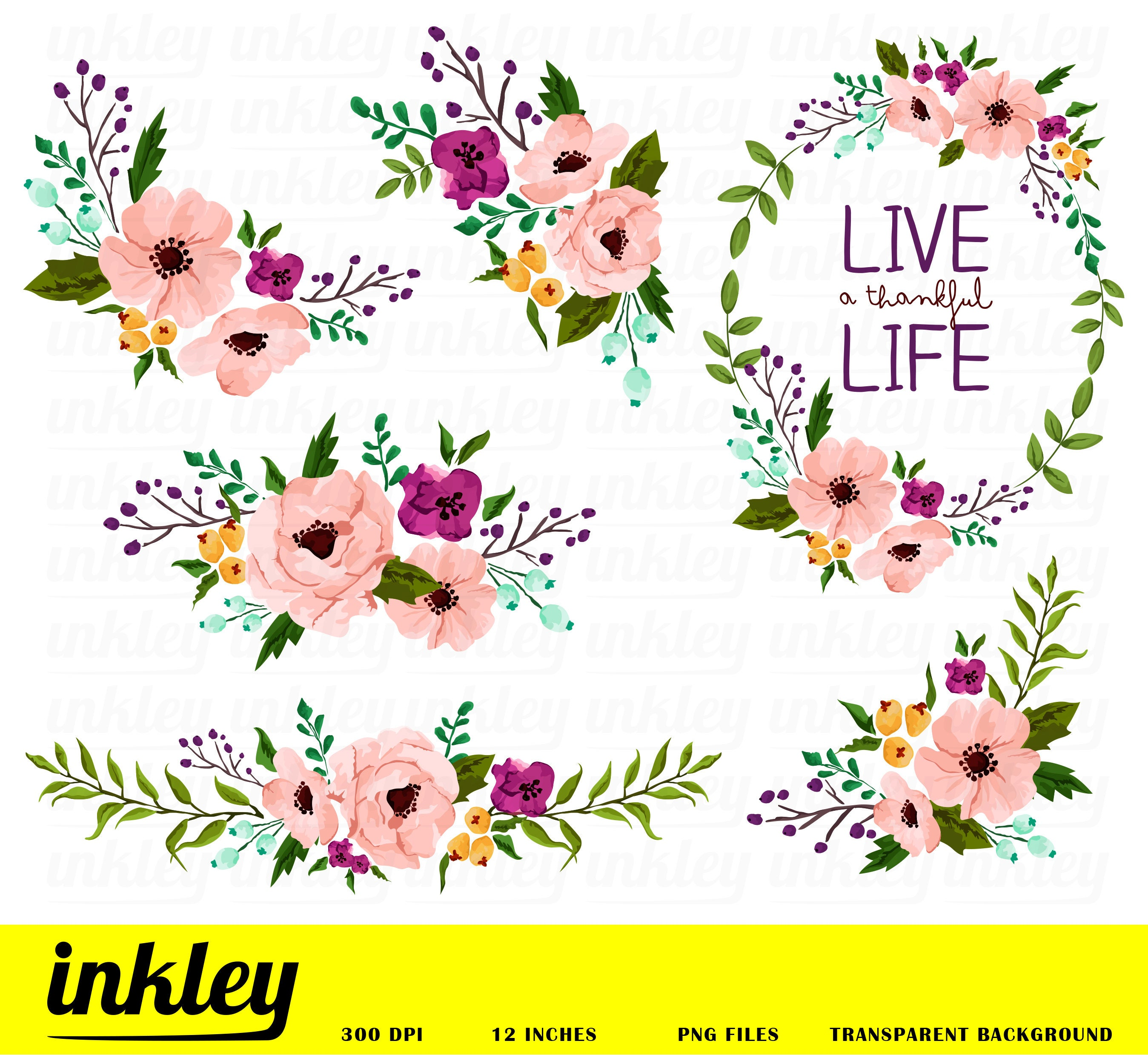 Pink Flower Clipart Pink Flower Clip Art Pink Flower Png Etsy