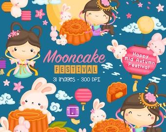Mooncake Festival Clipart - Mid Autumn Festival Clip Art - October Festival - Free SVG on Request