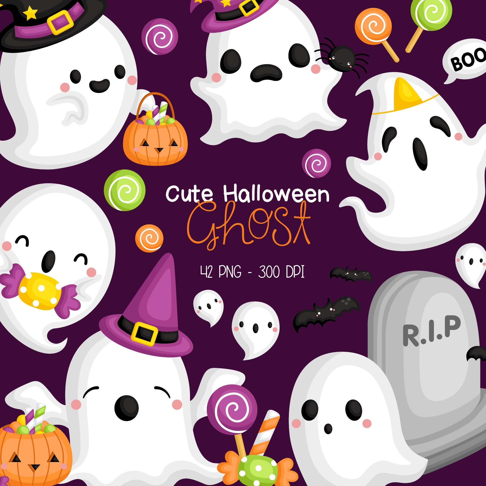 Spooky Ghosts SVG Clip Art Halloween SVG clip art Halloween decor instant download. Ghosts SVG Clipart