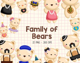Family of Bears Clipart - Cute Bear Clip Art - Cute Animal Clipart - Free SVG on Request