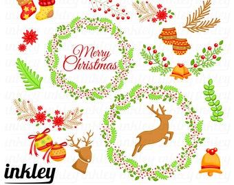 Christmas Wreath Clipart - Flower Arrangement Clip Art - Floral Arrangement - Free SVG on Request