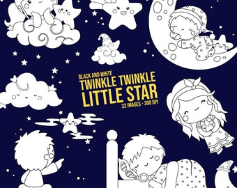 Twinkle Twinkle Little Star Clipart - Nursery Rhymes - Black and White - Free SVG on Request