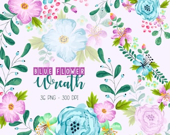 Blue Colored Flower Clipart - Flower Wreath Clip Art - Decoration - Free SVG on Request