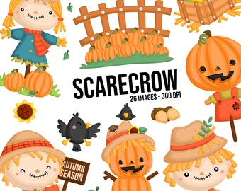 Scarecrow Clipart - Autumn Season Clipart - Cute Animal - Free SVG on Request