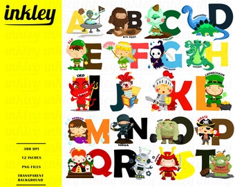 Alphabet and Characters Clipart - Story and Fantasy Clip Art - Free SVG on Request