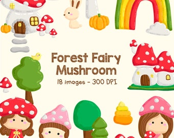 Forest Fairy Doodle Clipart - Cute Fairy Mushroom Clip Art - Forest Animal - Free SVG on Request
