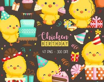 Birthday Chicken Clipart - Birthday Party Clip Art - Cute Animal - Free SVG on Request