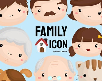 Family Icon Clipart - Cute Family Tree Clip Art - Family Generation - Free SVG on Request