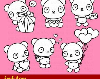 Valentine Panda Clipart - Black and White Clip Art - Digital Stamp - Free SVG on Request