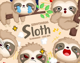Emotional Cute Sloth Clipart - Sloth on a Tree Clipart - Cute Animal Clipart - Free SVG on Request