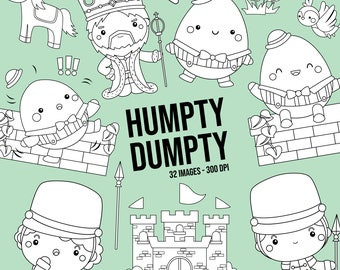 Humpty Dumpty Clipart - Cute Story Clip Art - Nursery Rhymes - Free SVG on Request
