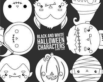 Halloween Costume Clipart - Cute Monster Clip Art - Black and White - Free SVG on Request