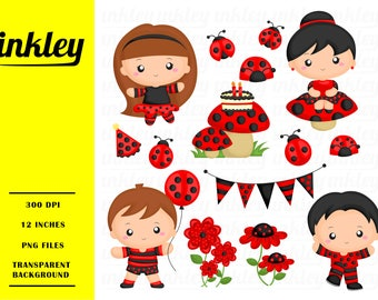 Ladybug Kids Clipart - Kids and Insect Clip Art - Fantasy World - Free SVG on Request