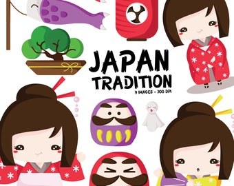 Japan Tradition Clipart - Country and Culture Clip Art - Japanese Kimono - Free SVG on Request
