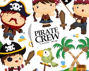 Pirate Crew Clipart - Cute Kids Clip Art - Pirate Flag - Free SVG on Request