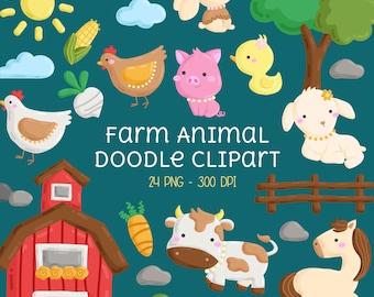 Farm Animal Doodle Clipart - Cute Animal Clipart - Farming Clip art - Free SVG on Request