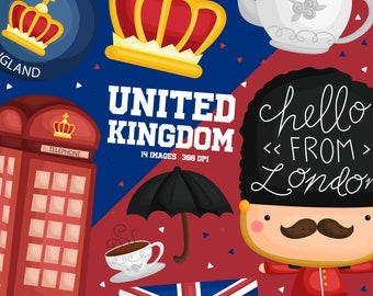United Kingdom Clipart - Country Tradition Clip Art - Tea and Snack - Free SVG on Request