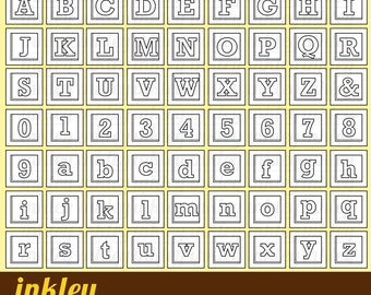 Alphabet Block Clipart - Black and White Clip Art - Digital Stamp - Free SVG on Request