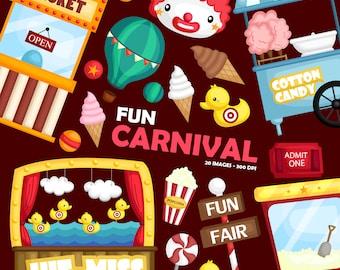 Carnival Fun Clipart - Cute Clown Clip Art - Fun at the Carnival - Free SVG on Request