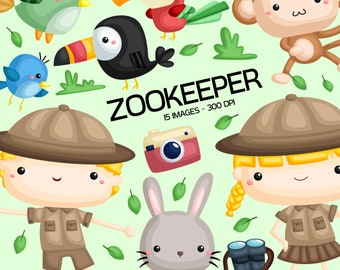 Zookeeper Clipart - Zoo Animal Clip Art - Cute Animal - Free SVG on Request