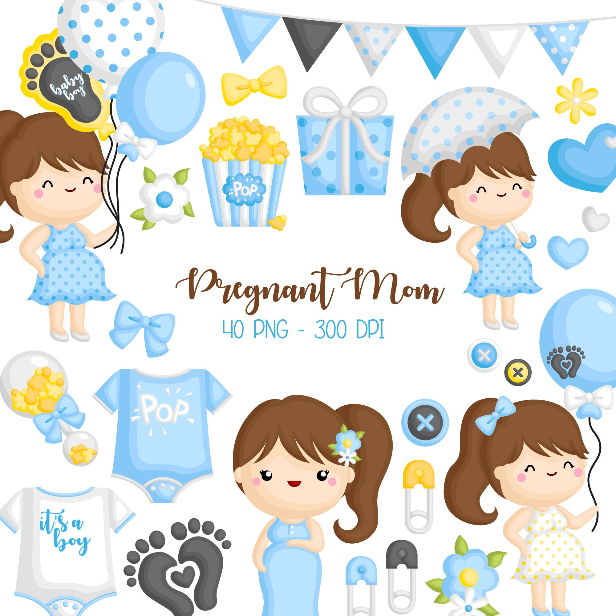Cute Pregnancy Clipart Mom To Be Clip Art Baby And Mom Etsy