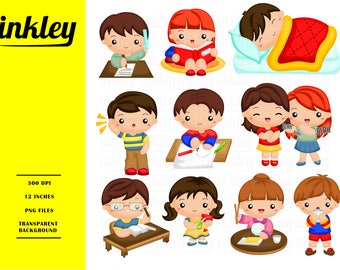 Kids Activities Clipart - Cute Kids Clip Art - Fun and Hobby - Free SVG on Request