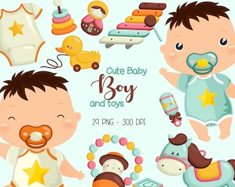 Baby Boy Clipart - Cute Baby Clip Art -Baby Toys - Free SVG on Request