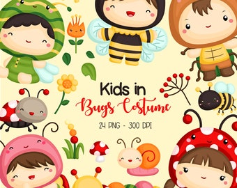 Kids in a Bug Costume Clipart - Cute Insect and Bug Clip Art - Cute Animal - Free SVG on Request