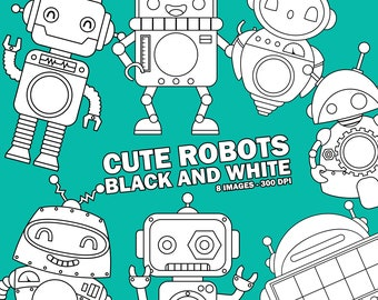 Cute Robots Clipart - Toys Clip Art - Black and White - Free SVG on Request