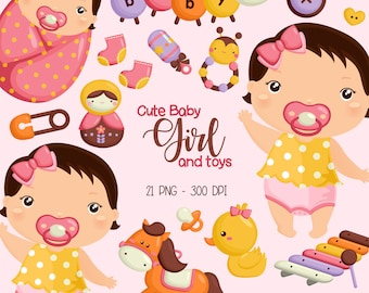 Baby Girl Clipart - Cute Babies Clip Art - Toys and Dolls - Free SVG on Request