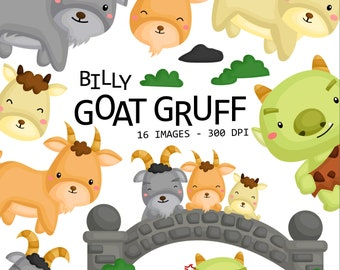 Billy Goat Gruff Clipart - Cute Animal Clip Art - Story and Fairytale - Free SVG on Request