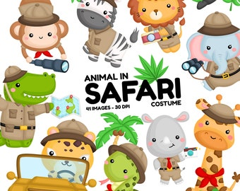 Safari Animal Clipart -  Jungle Animal Clip Art - Cute Animal -  Free SVG on Request