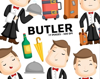 Professional Butler Clipart - Butler Servant Clip Art - Mansion and House - Free SVG on Request